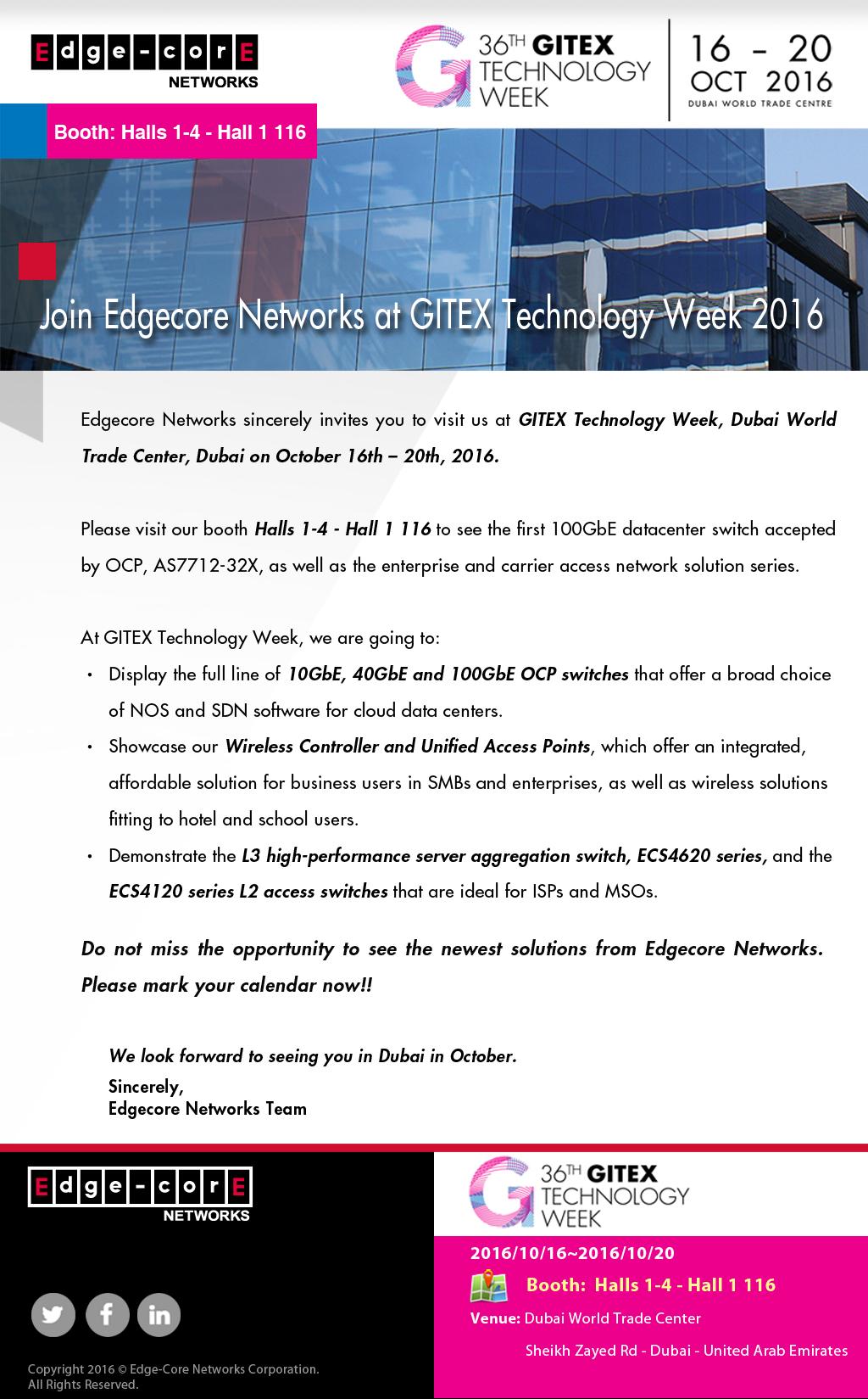 Join Edgecore Networks at GITEX Technology Week 2016-Edgecore Networks